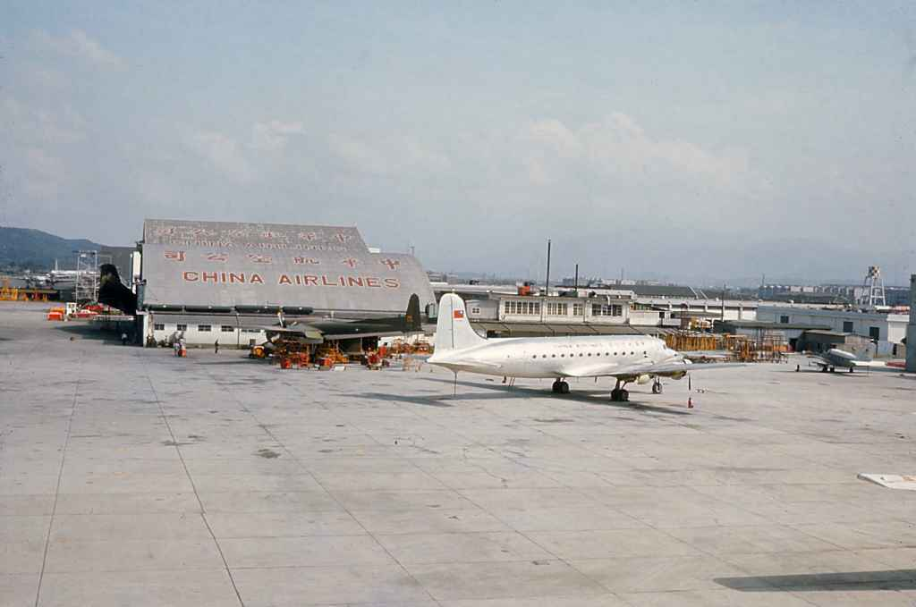 China Air Lines DC-4 at company hangar at Taipei Sung Shan airport 1971.