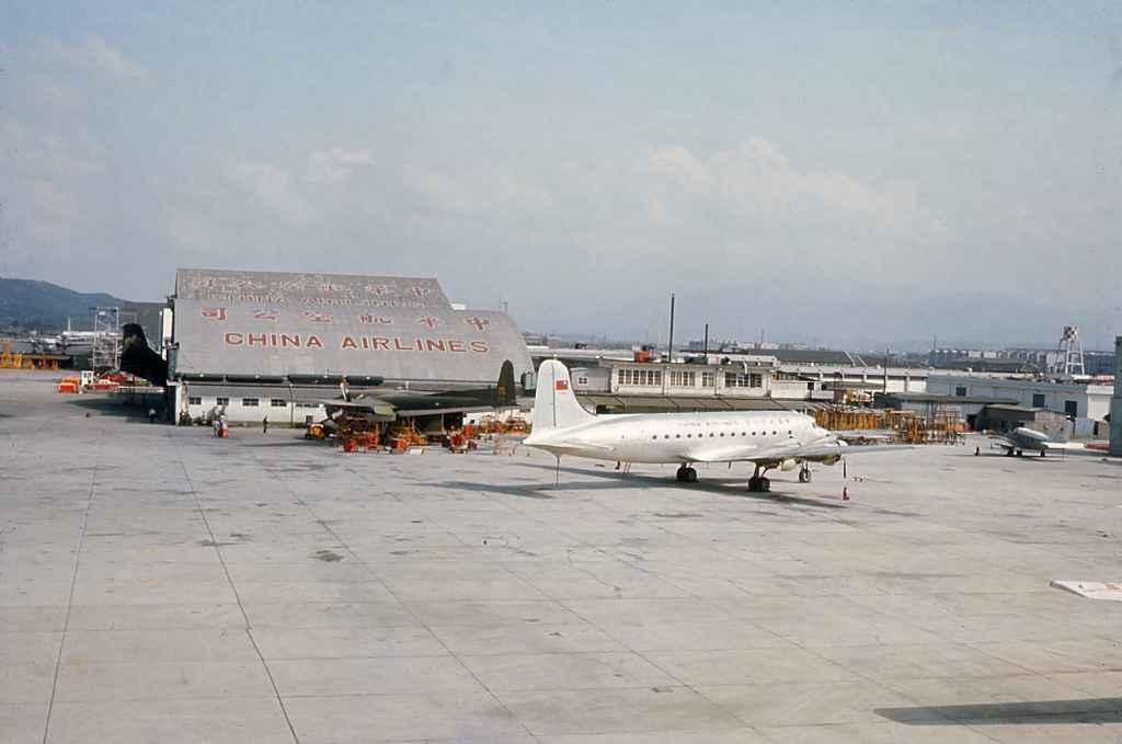 China Air Lines DC-4 at company hangar at Taipei Sung Shan airport 1971.