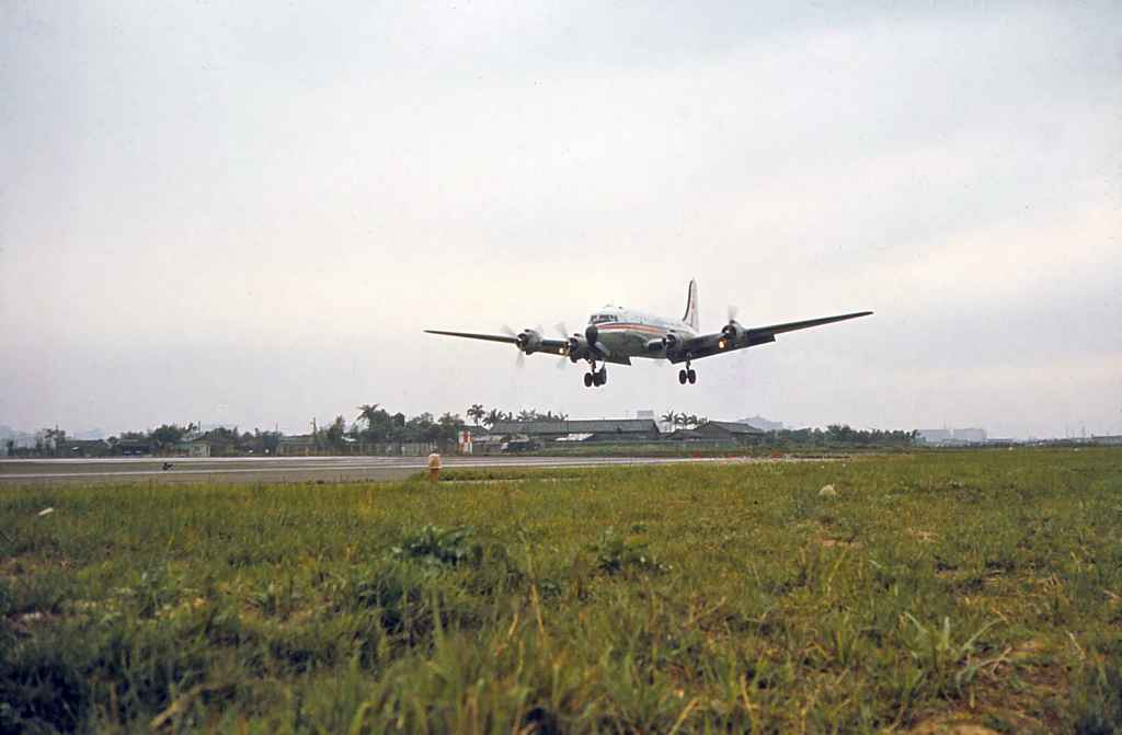 China Airlines DC-4 about to touch down at Taipei Sung Shan airport circa 1971.