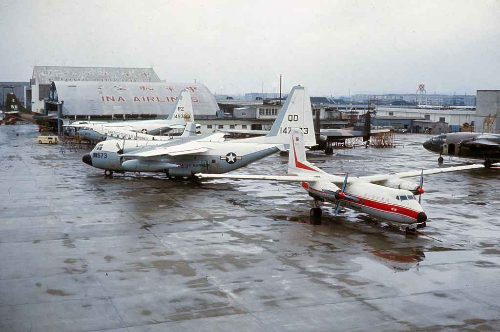 "Awesome view of FEAT Far Eastern Air Transport Dart Herald B-2011 at Taipei Sung Shan airport circa 1971. Notice all the USAF military transports parked at the ""INA AIRLINES"" hangar. A fictitious name most likely, as these aircraft were receiving maintenance here in support of the Vietnam War efforts."