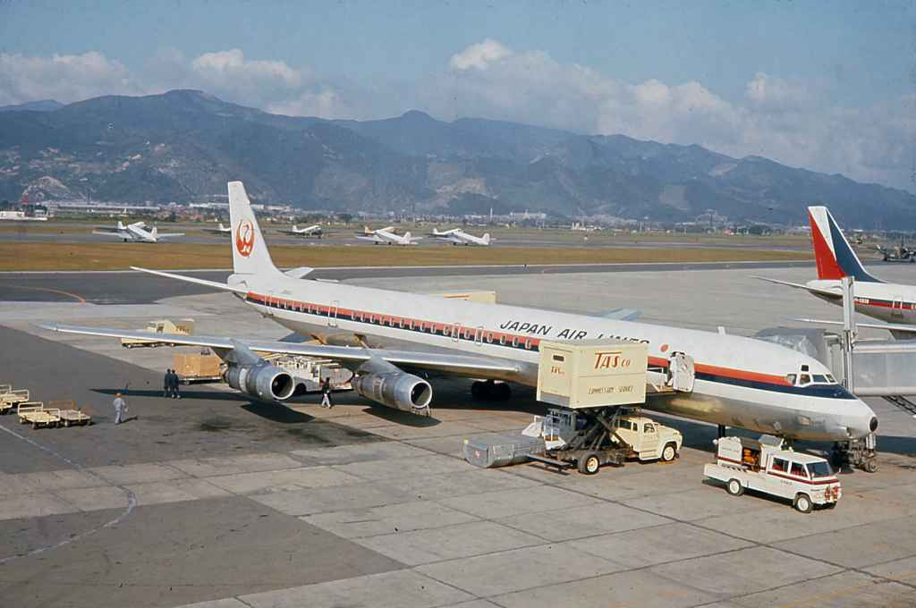 Japan Air Lines DC-8-61 JA8041 scheduled service at Taipei Sung Shan airport 1971.
