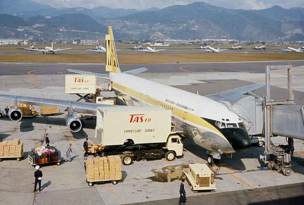 Malaysia Singapore Airlines Boeing 707 at Taipei Sung Shan airport 1971.