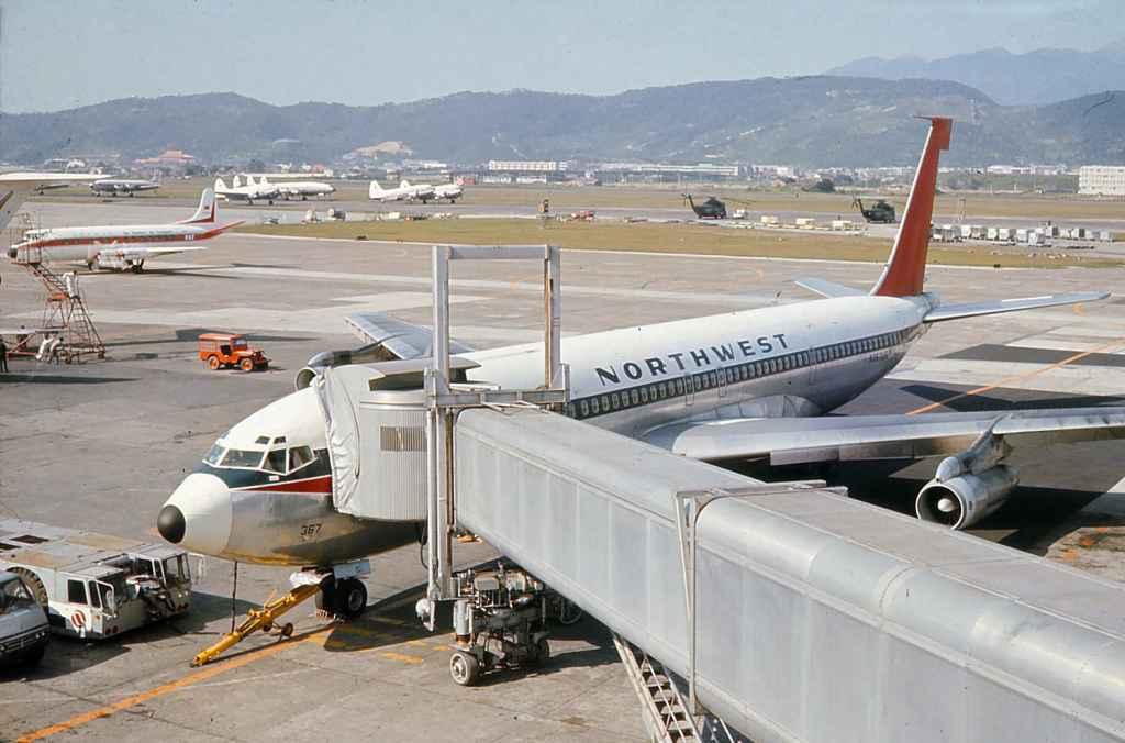 Northwest Orient Boeing 707-351 N367US on a Vietnam War troop charter at Taipei Sung Shan airport circa 1971.