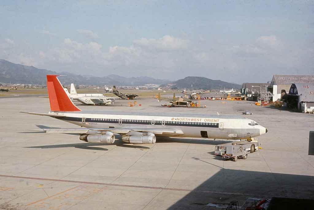 Northwest Orient Boeing 707-351 N366US on a Vietnam War troop charter at Taipei Sung Shan airport circa 1971.