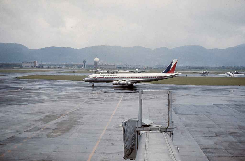 Philippine Airlines DC-8-50 PC-C803 operating a sked service at Taipei Sung Shan airport November, 1971.