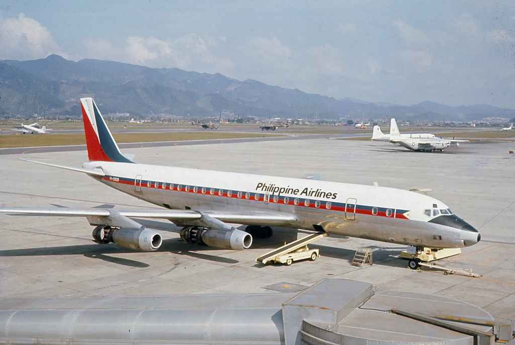 Philippine Airlines DC-8-30 PI-C829 operating a sked service from Manila at Taipei Sung Shan airport circa 1971.
