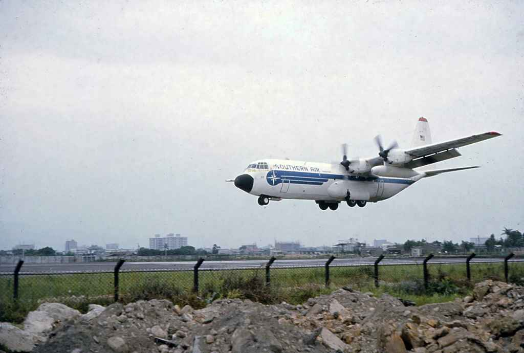 Southern Air Transport Lockheed Hercules at Taipei Sung Shan airport 1971.