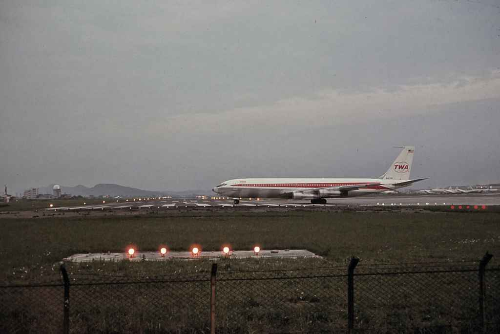 TWA Boeing 707 turning onto the active at Taipei Sung Shan airport 1971. Probably Vietnam troop charter.