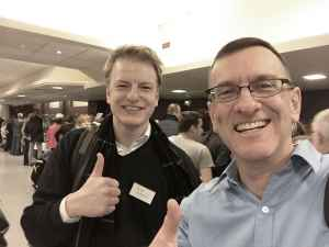 """Niels Dam and Henry Tenby give the """"thumbs up"""" to the 2018 Amsterdam Aviation Fair."""