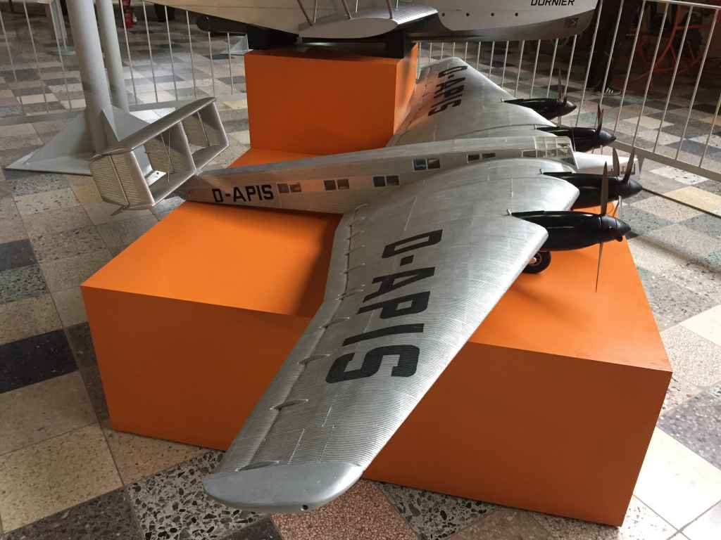 Large scale pre-war flying wing aircraft model D-APIS at the Hermeskeil aviation museum in Germany.