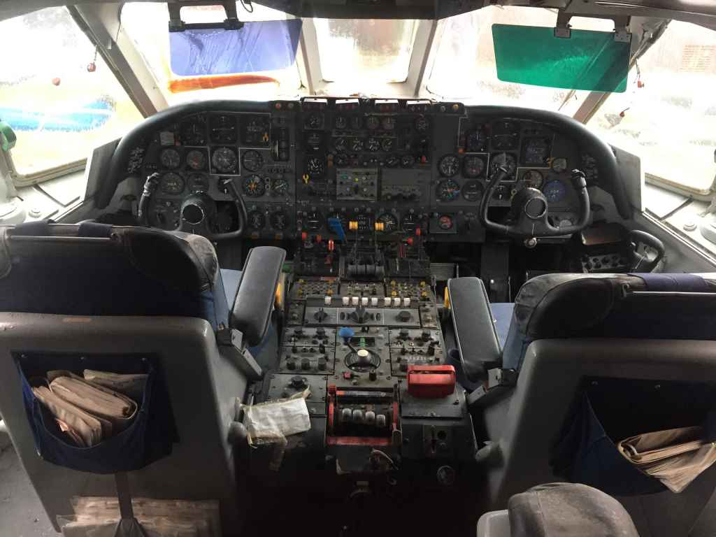 Front office view aboard Vickers VC-10 G-ARVF at the Hermeskeil aviation museum in Germany.