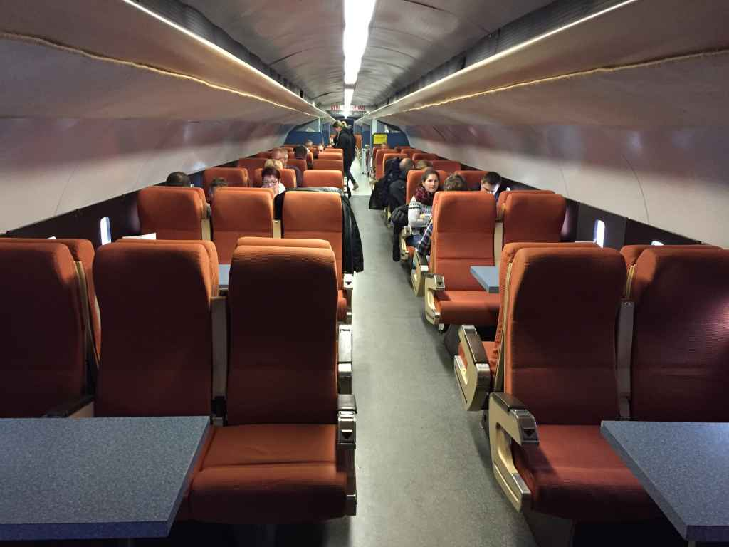 Inside cabin view of the 1960s era static Concorde mock-up at the Hermeskeil aviation museum in Germany.