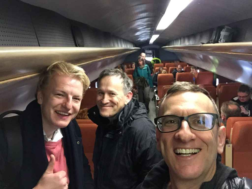 Like everyone else, we stopped inside the mock-up Concorde for some warm drinks after spending several hours in the cold elements taking in the Hermeskeil aviation museum in Germany. Left to right, Niels Dam, Andreas Stryk, and Henry Tenby.