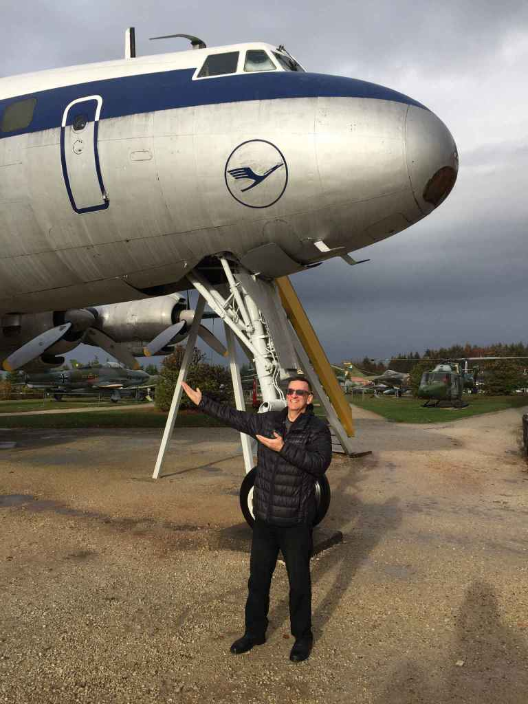 Henry Tenby with the fabulous Lufthansa Lockheed Super Constellation at the Hermeskeil aviation museum in Germany.