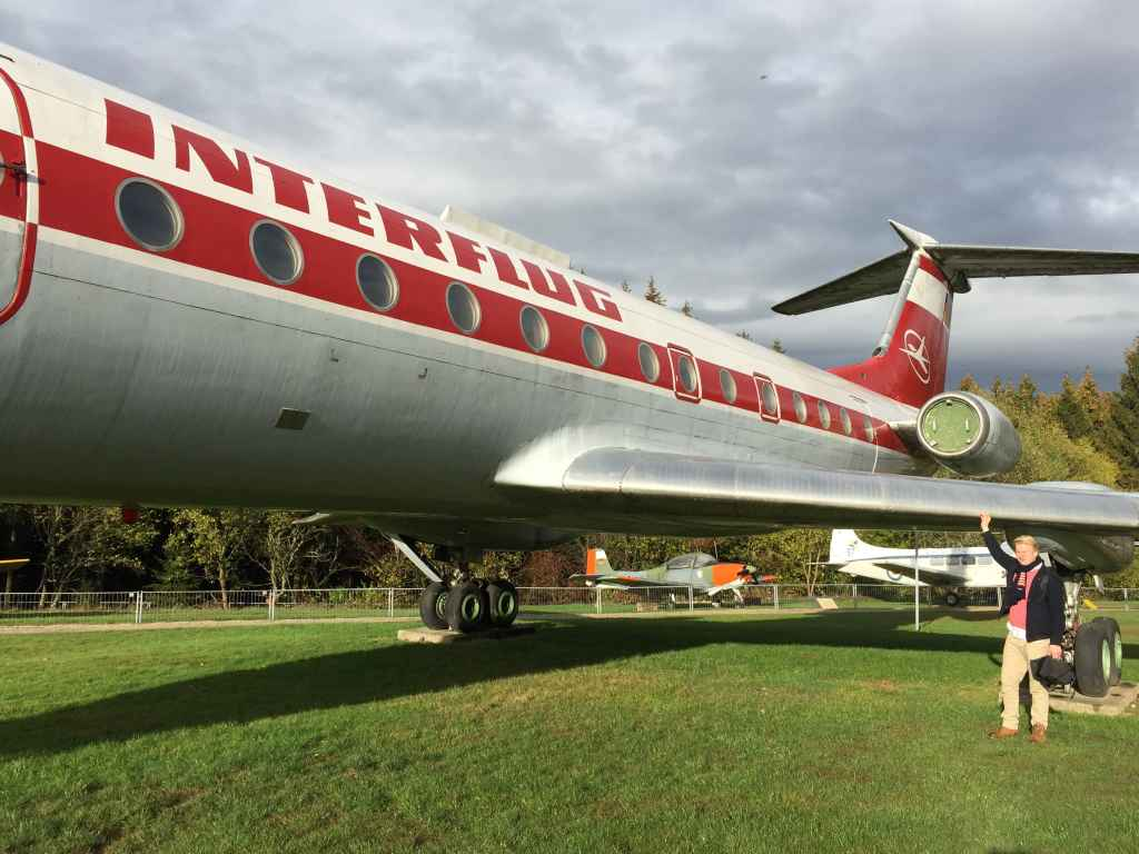 Niels Dam does a ground inspection on the awesome Interflug Tupolev Tu-134 at the Hermeskeil aviation museum in Germany.