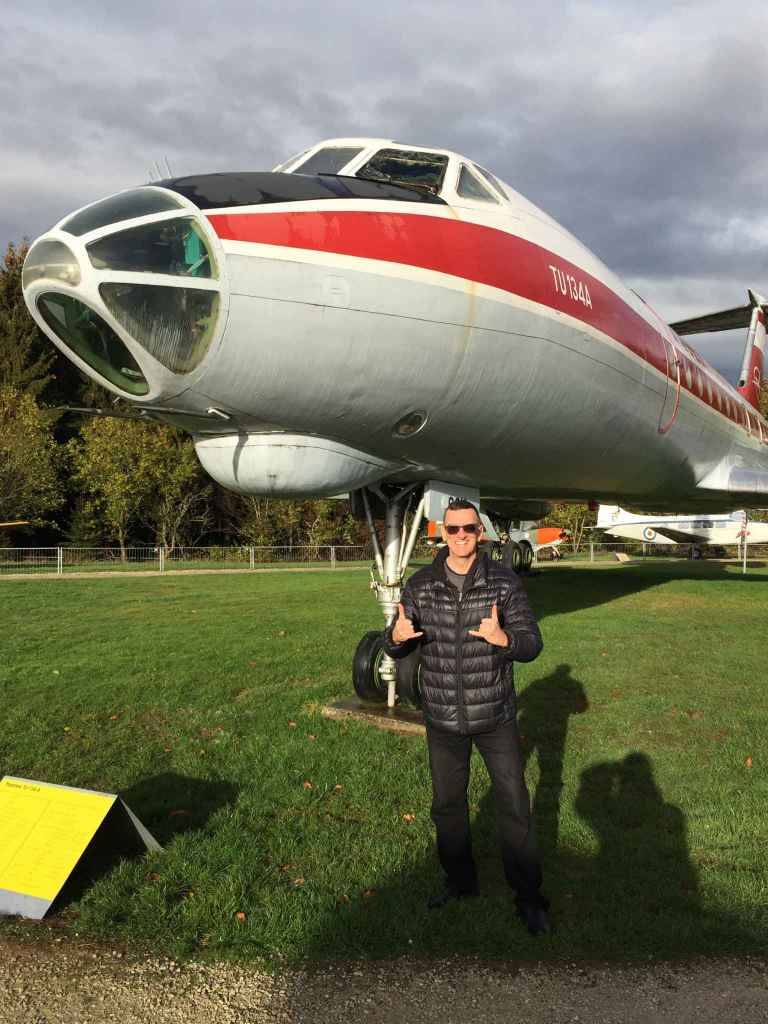 Henry Tenby chillin' with the awesome Interflug Tupolev Tu-134 at the Hermeskeil aviation museum in Germany.