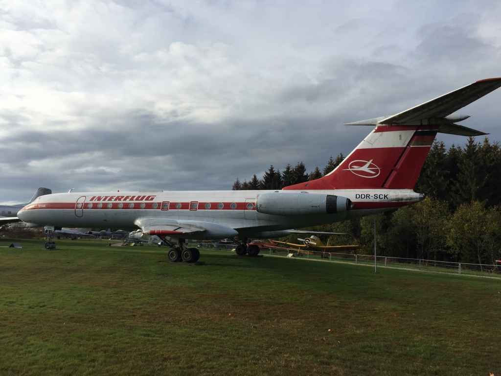 Another nice side profile view of Interflug Tupolev Tu-134 DDR-SCK at the Hermeskeil aviation museum in Germany.