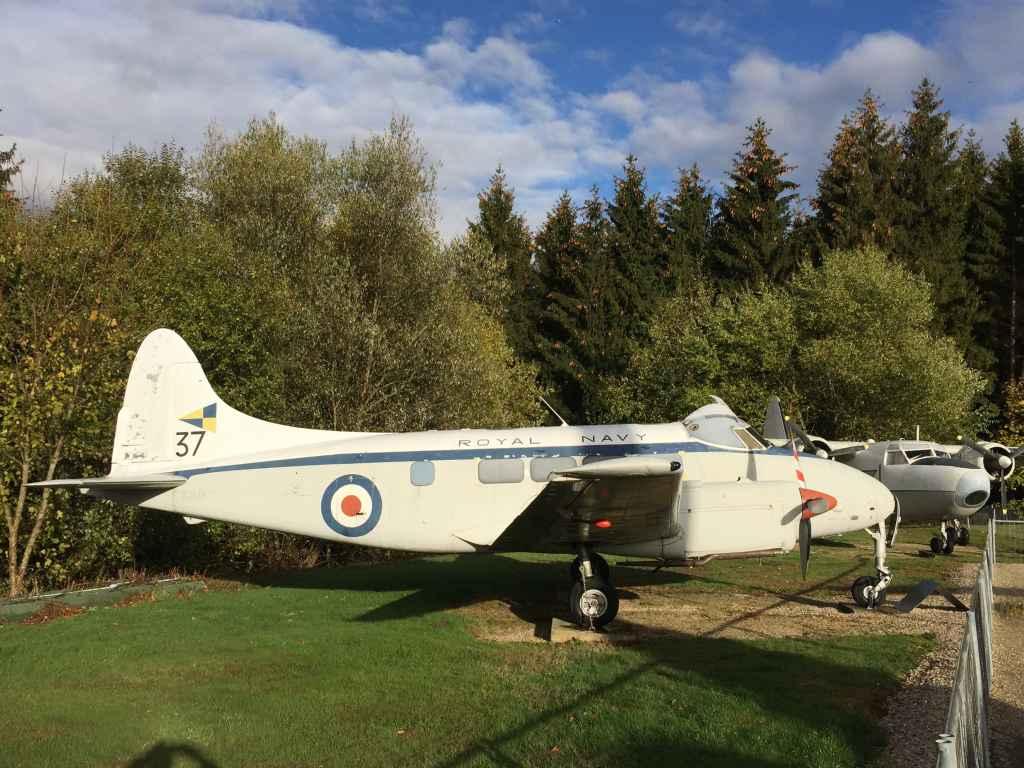 """Royal Navy De Havilland Dove """"Devon"""" at the Hermeskeil aviation museum in Germany."""
