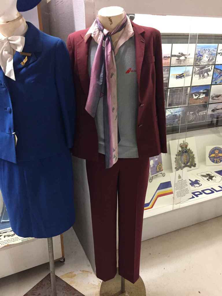 Air BC Flight Attendant Uniform circa 1990s at the Canadian Museum of Flight.