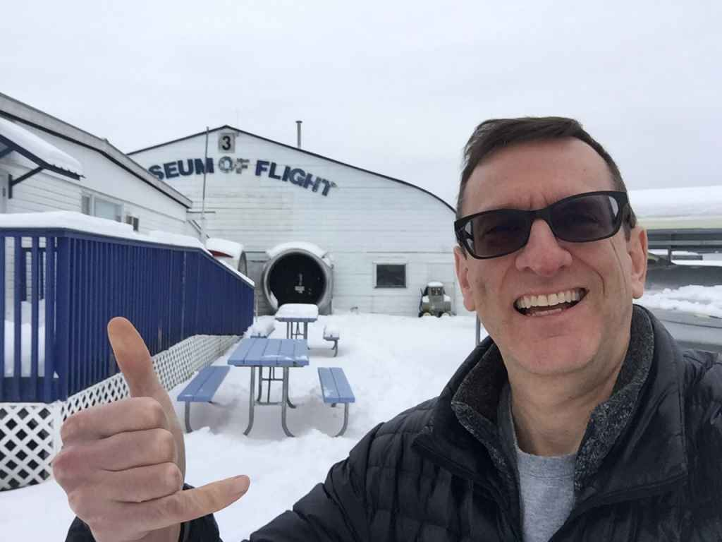 Always happy at an aviation museum! Henry Tenby doesn't mind a little snow getting in the way of enjoying a visit to at the Canadian Museum of Flight in Langley, BC.