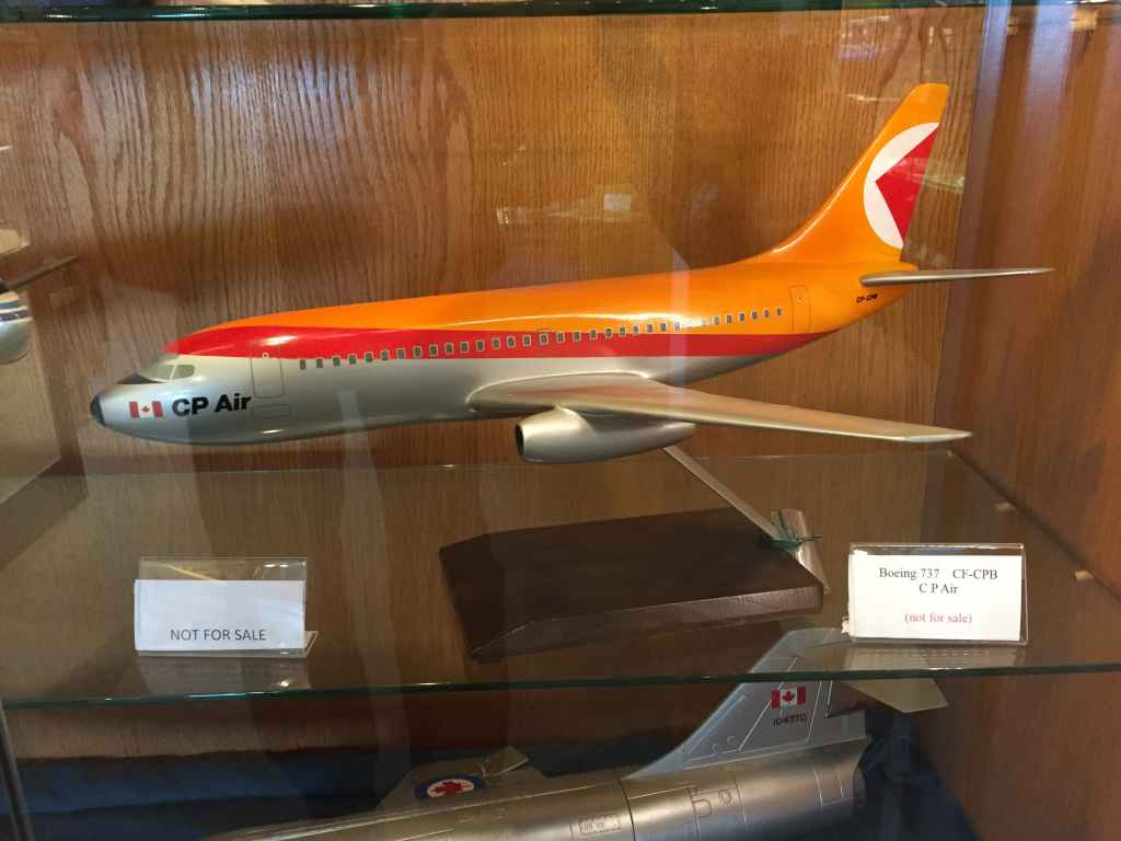 Lovely 1/50th scale CP Air Boeing 737-200 travel agent display model by Pacific Miniatures, circa early 1970s. At the Canadian Museum of Flight in Langley, BC.