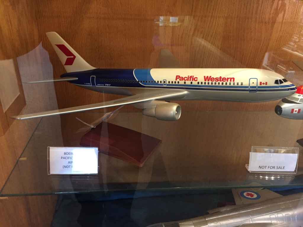 A very nice 1/100 scale Pacific Western Airlines Boeing 767-200 executive desk model on display at the Canadian Museum of Flight in Langley, BC. Models dates from 1982-83 and was made by Scalecraft Models of New Zealand.