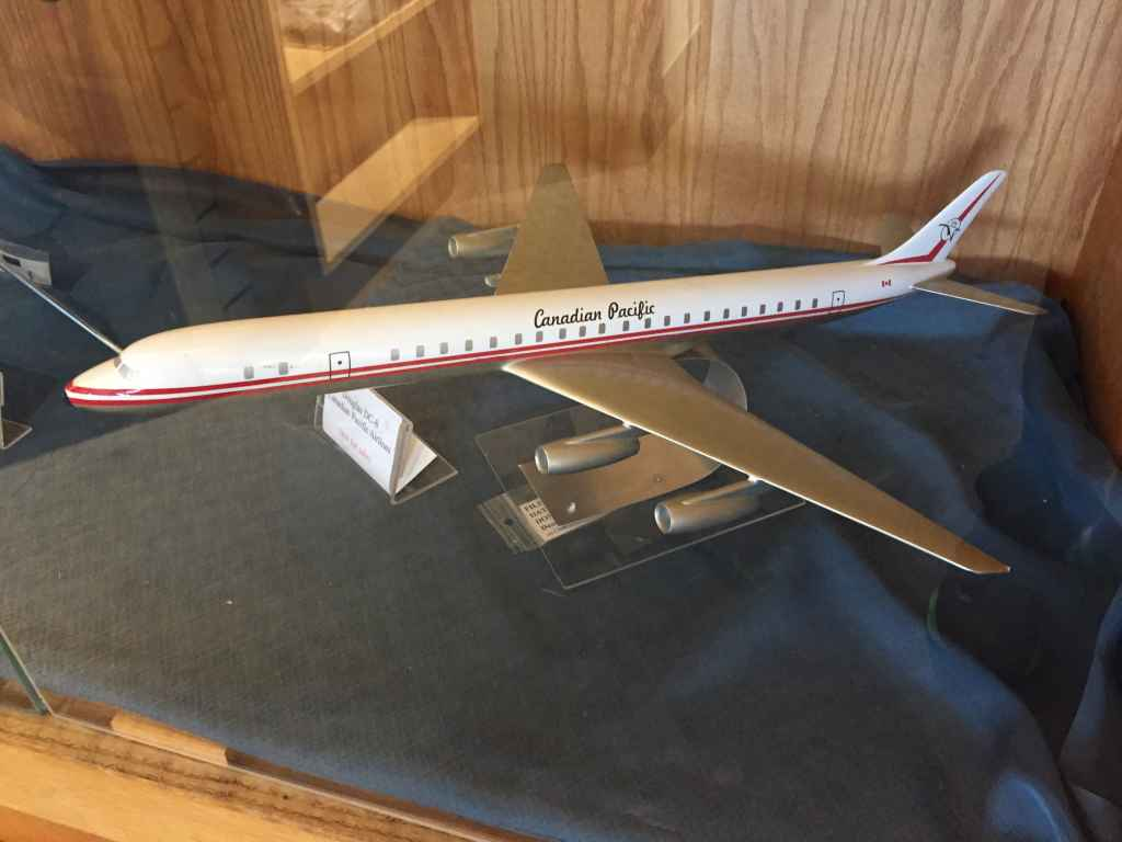 A very nice 1/100 scale Canadian Pacific Airlines Douglas DC-8-8-63 in the goose livery on display at the Canadian Museum of Flight in Langley, BC. Models dates from 1968 and was likely made by Westway Models of Wembley, Middlesex, UK.