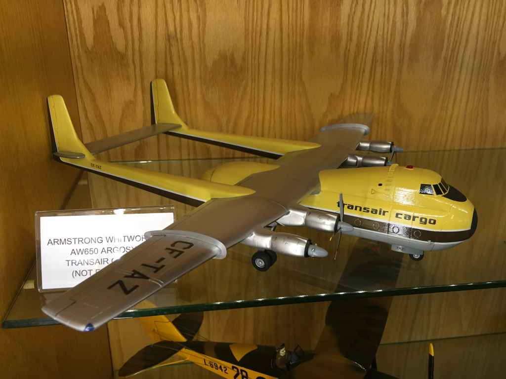 A 1/72 scale desk model of Transair Cargo's Armstrong Whitworth Argosy Freighter at the Canadian Museum of Flight in Langley, BC. This aircraft was based in Winnipeg in the late 1960s and early 1970s.