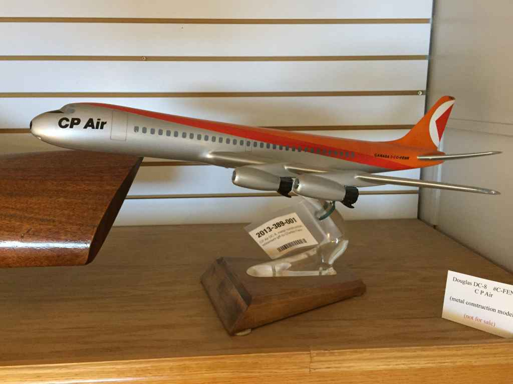 An incredibly grotesque model. This being a brutishly ugly attempted representation of a CP Air DC-8-43 circa 1970s. This model was originally made by Peter V. Nelson of the UK in the 1960s and was originally finished in the Canadian Pacific goose colours. The model is part of the artifacts collection at the Canadian Museum of Flight in Langley, BC.