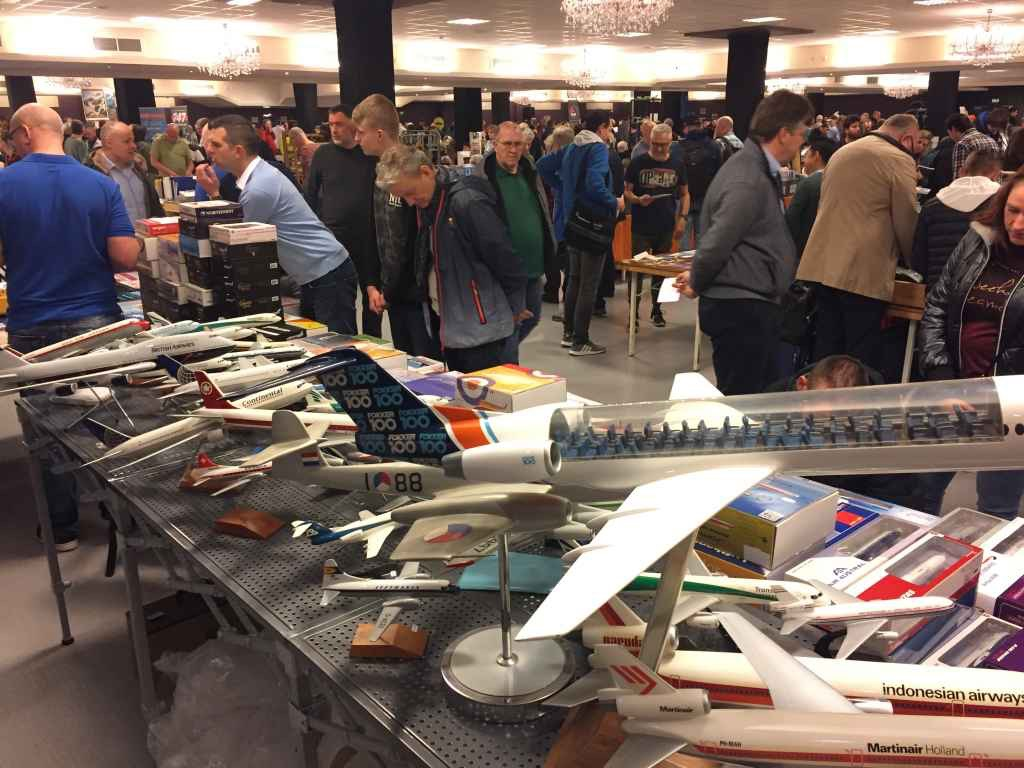 The large scale Fokker 100 cutaway model is a highlight piece on the table of Patrick van Rooijen, the Managing Organizer of the Amsterdam Aviation Fair.