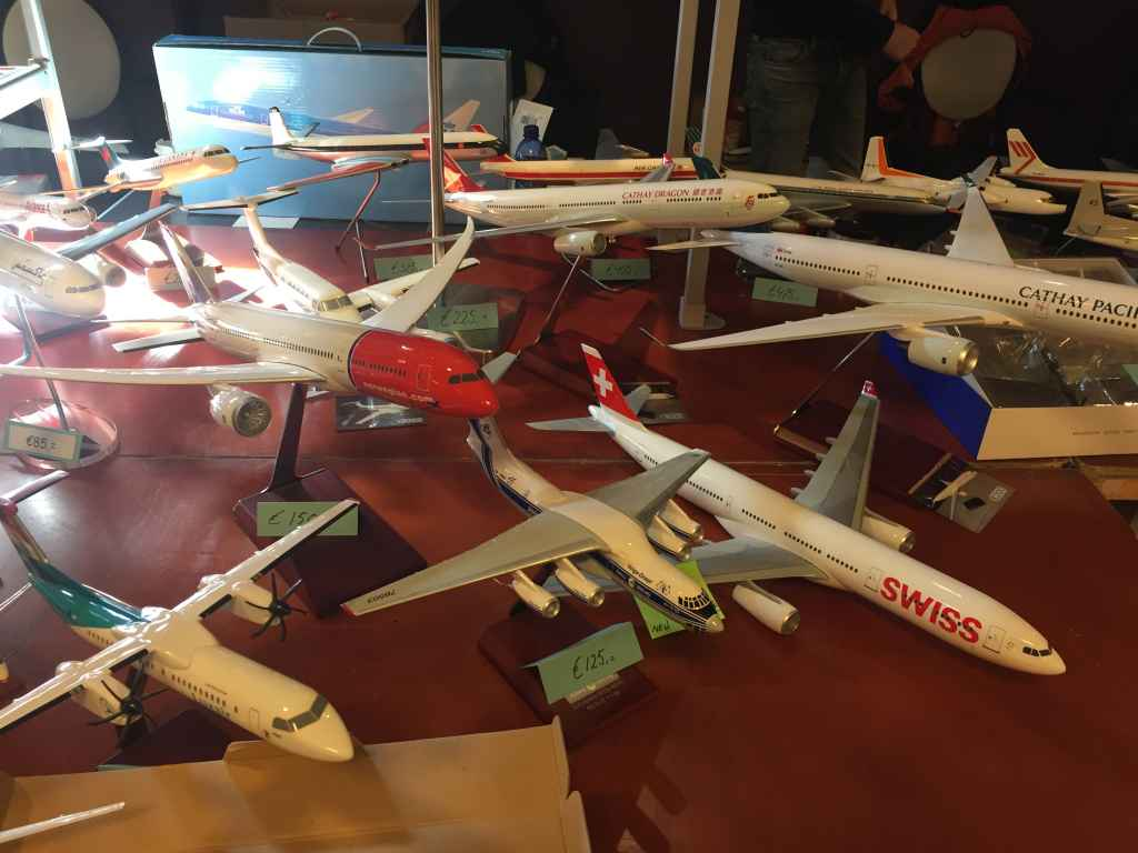 Some modern and lowered priced travel agent display models offered for sale at the 2019 Amsterdam Aviation Fair.