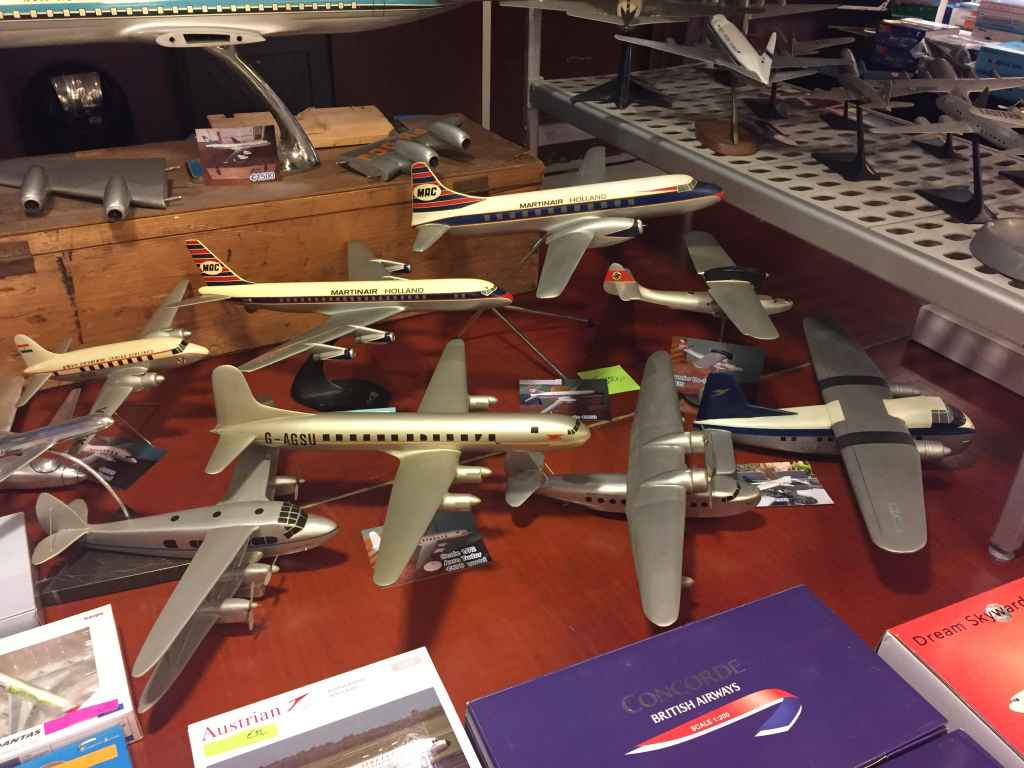 Selection of vintage models for sale at the 2019 Amsterdam Aviation Fair. With exception to the DC-8 and Convair these are all wooden models.