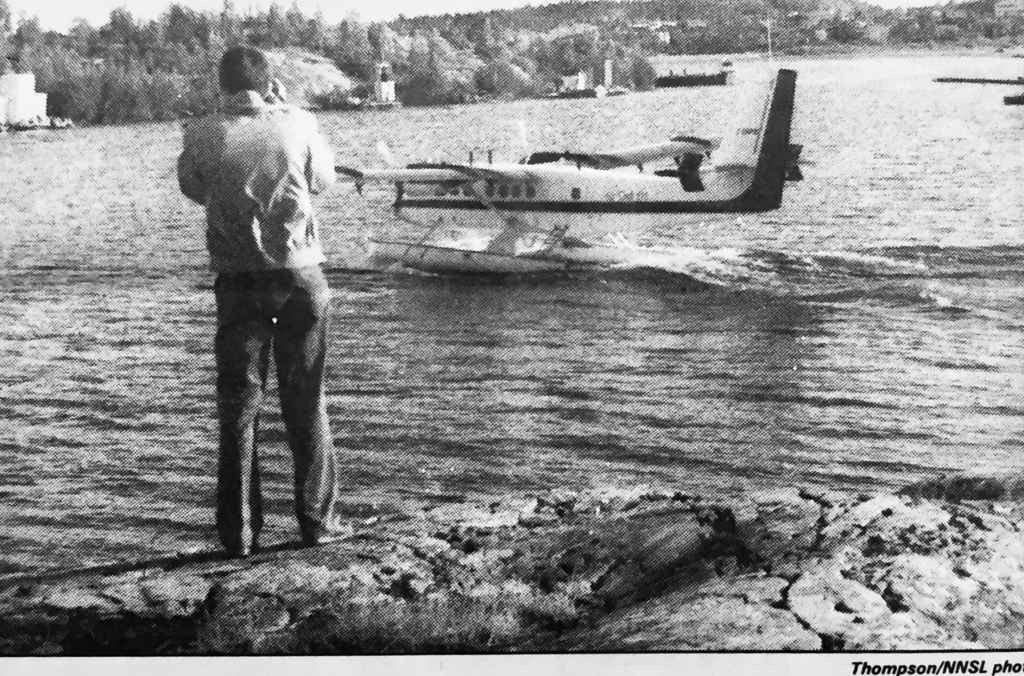 Henry Tenby has become a regular sight on the rocks behind the Air Tindi float base, where he spends much of his spare time getting pictures of exotic float planes.