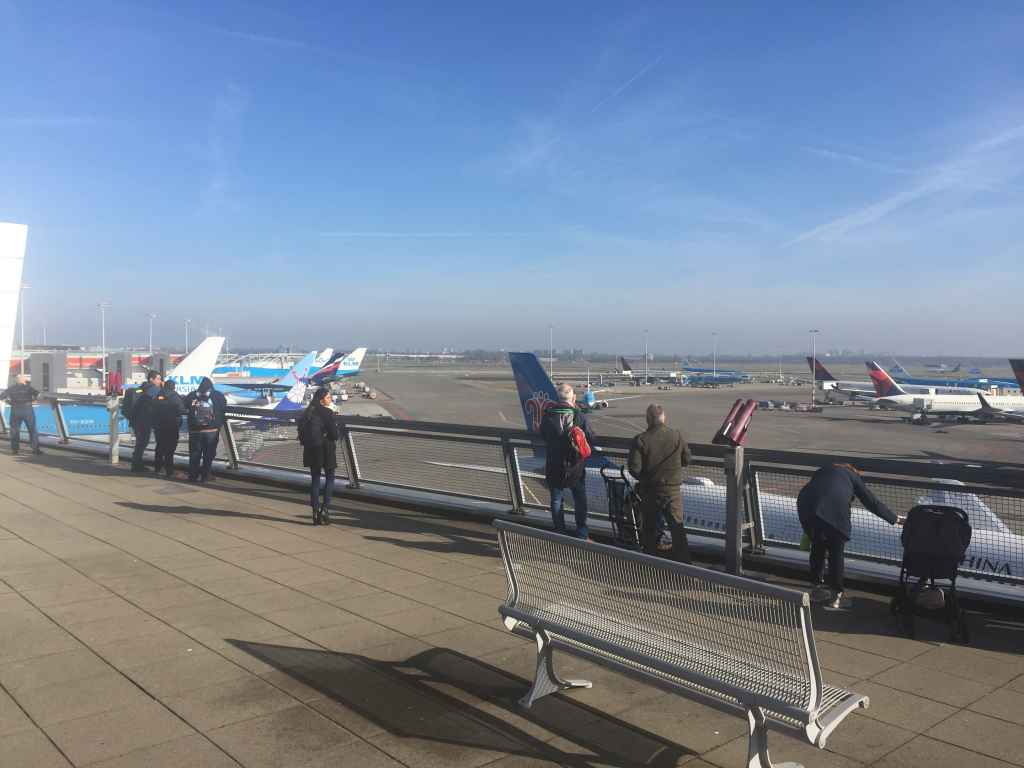 An aviation enthusiast's dream come true! A lovely open air observation deck with expansive views of the whole airport is what awaits visitors to Amsterdam's famous Schiphol airport.