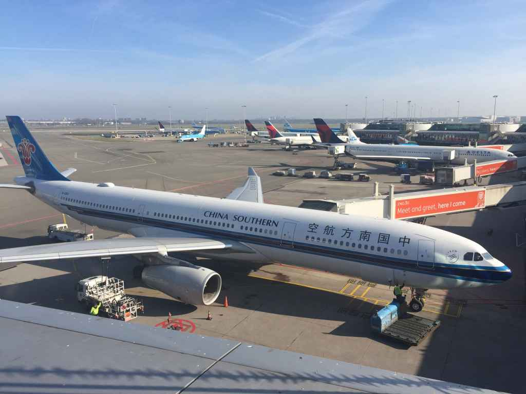 Typical view from the observation deck at Amsterdam Schiphol Airport.