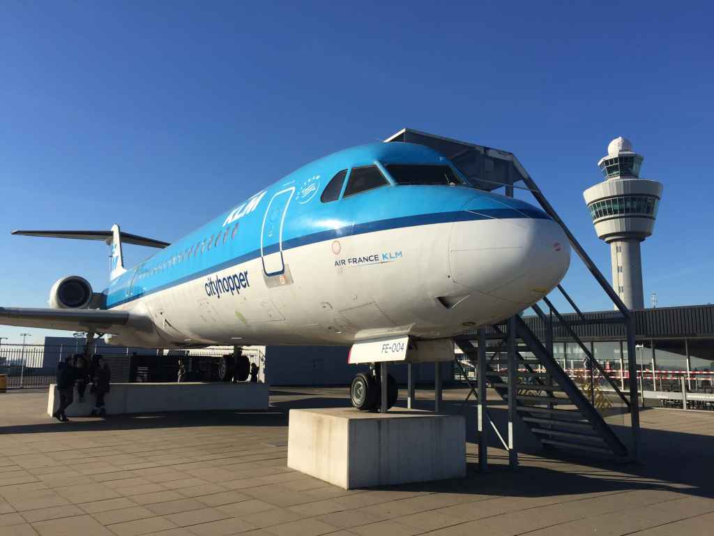 Why not take a visit to the KLM Fokker 100 that sits atop the observation deck at Amsterdam Schiphol airport. You can take a seat to rest your feet, or view the flight deck.