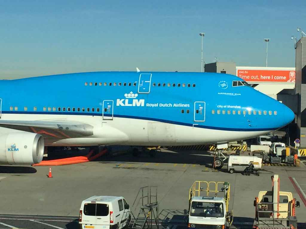 Nice big nose view! KLM 747-400 classic PH-BFW at the gate at Amsterdam's famous Schiphol airport.