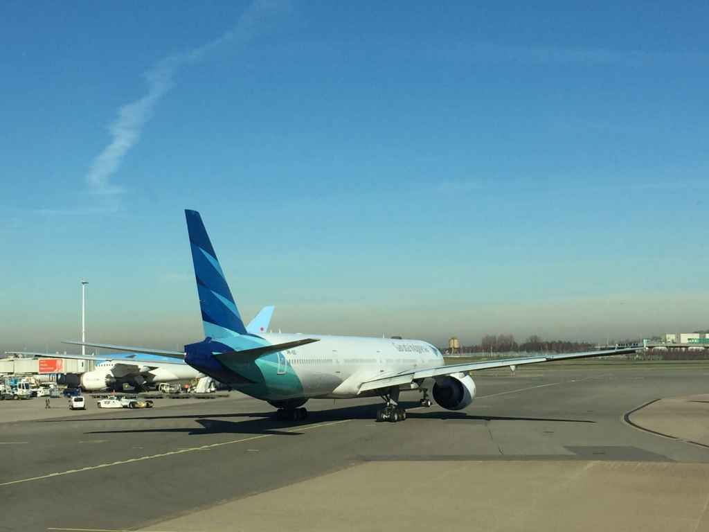 Garuda Indonesia 777-300ER having been pushed back from departure at Amsterdam Schiphol airport.
