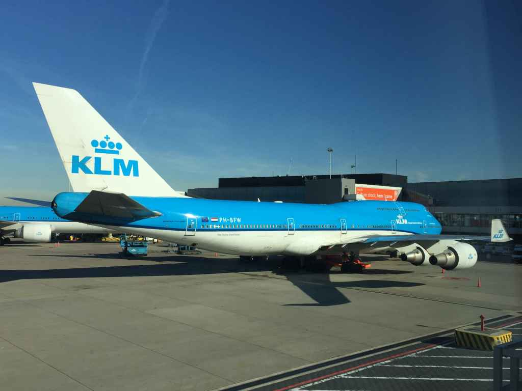 Amother very nice view of a KLM 747-400 classic PH-BFW at gate at Amsterdam's famous Schiphol airport.