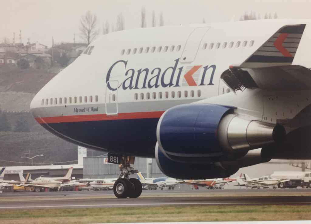 "Canadian Airlines' first Boeing 747-475 ""Maxwell Ward"" at Boeing Field, December 13, 1990, prior to delivery to Vancouver. The video of this event stream at http://www.jetflix.tv"