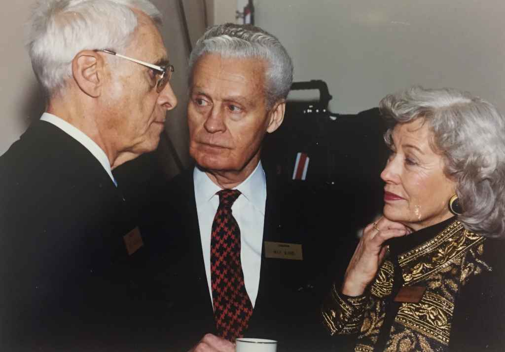 """Max Ward and his wife Marjorie on hand for the handover ceremony of Canadian Airlines' first Boeing 747-475 """"Maxwell Ward"""" at Boeing Field, December 13, 1990, prior to delivery to Vancouver."""