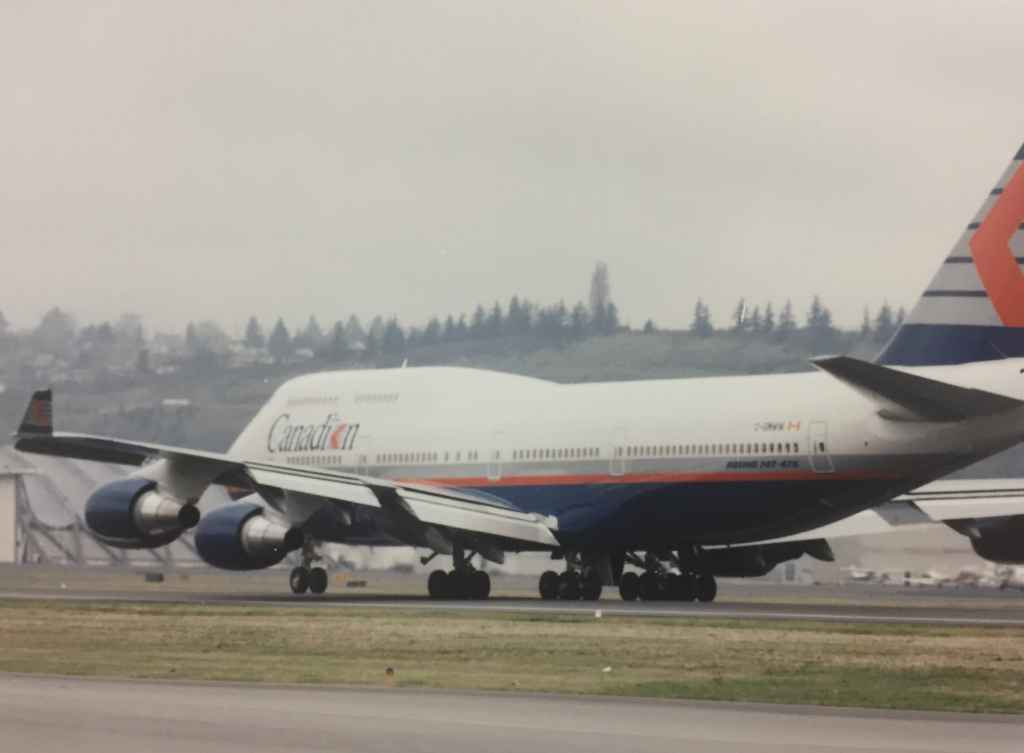 """Canadian Airlines Boeing 747-475 """"Maxwell Ward"""" pre delivery at Boeing Field, December 13, 1990."""