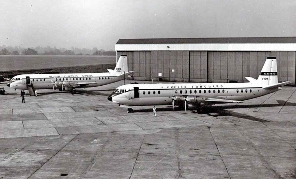 First built Vickers Vanguards G-AOYW and G-APEA at Weybridge circa 1959-1960.