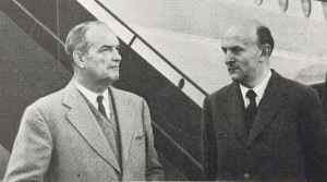 TCA President, Gordon McGregor, left, and Sir George Edwards, head of Vickers-Amstrong (Aircraft) Ltd., chat following a test flight in the brand new Vickers Vanguard.