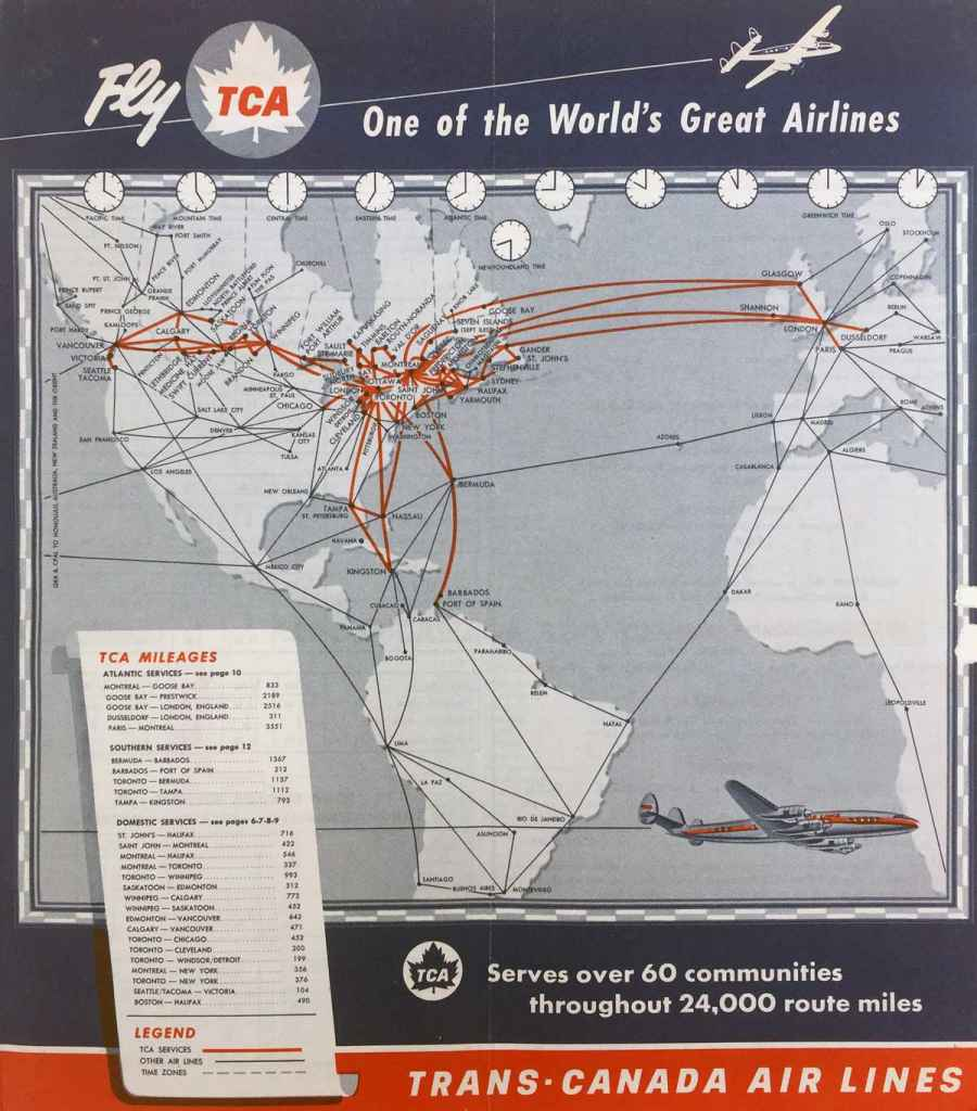 Trans Canada Air Lines 1956 route map