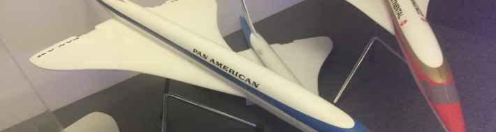 Pan American World Airways Anglo French Concorde proposal model 1/72 by Westway Models, circa mid 1960s, on display on board the Concorde at the Brookands Museum in Weybridge, Surrey, UK.