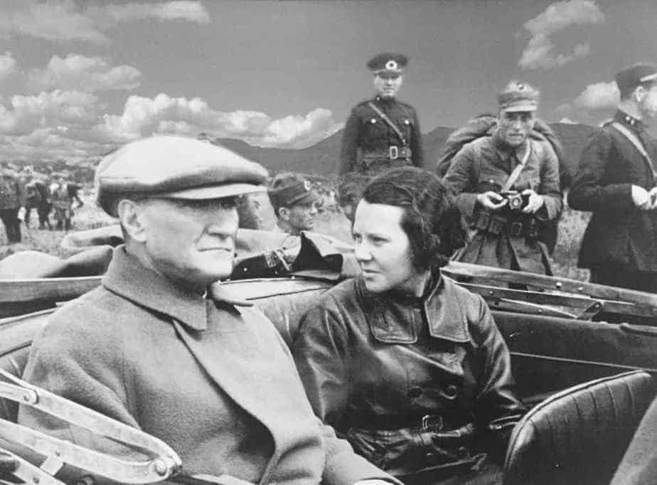 Rather of the Turkish Republic Kemal Ataturk with very first female Turkish pilot Sabiha Gökçen.