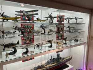 A wonderful cross section of custom models offered for sale at the Wing Club Desktop Model shop in Tokyo.