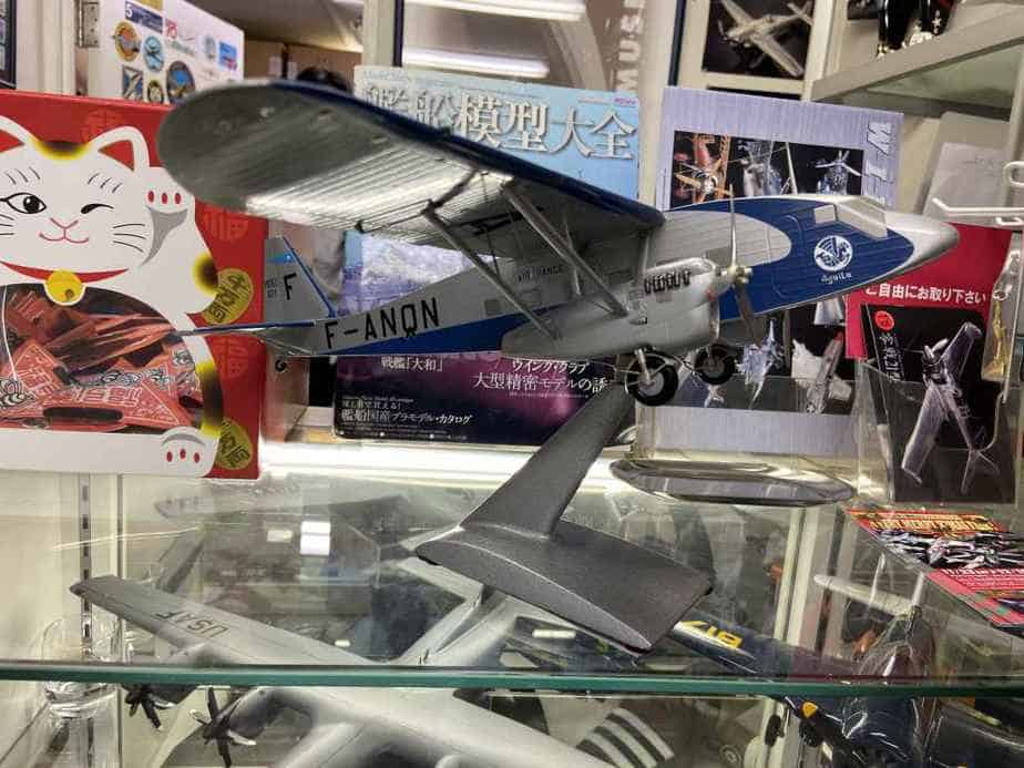 This amazing work of art is an Air France Potez 62 made by Nemoto which measures 20 X 20 inches and was purchased directly from Nemoto's workshop decades ago by Mr. Yano, for 300,000 Yen. The model is currently offered for sale in the used model section, at the Wing Club Desktop Model shop in Tokyo for half that figure.