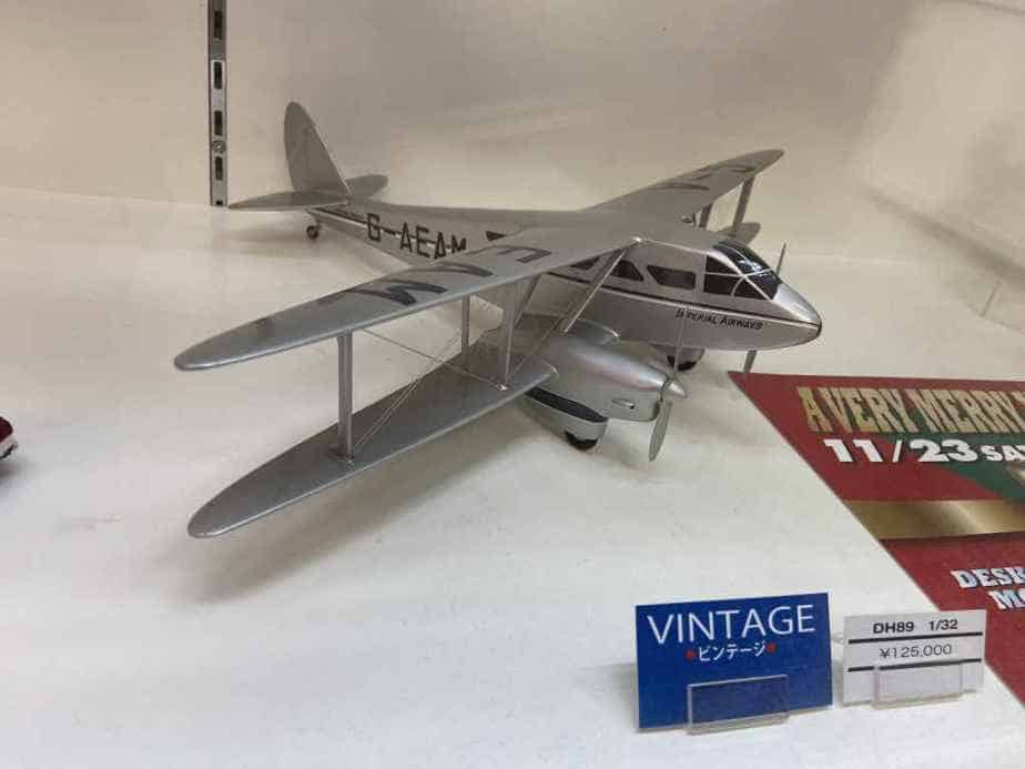 A vintage Imperial Airways DH89 Rapide in 1/32 scale offered for sale at the Wing Club Desktop Model shop in Tokyo, Japan.